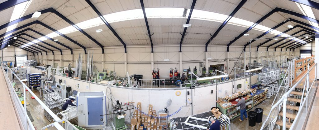 Fisheye view from the top of the warehouse.